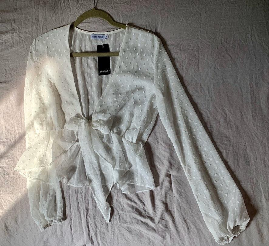 Nasty Gal white tie front top