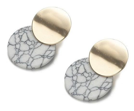 New Small Round Geometric Drop Earrings
