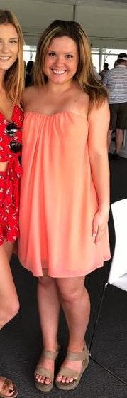 Vestique Orange Strapless Dress