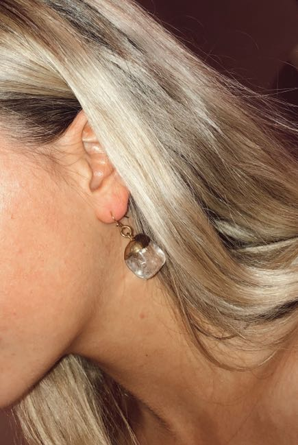 Urban Outfitters Clear & Gold Cracked Stone Earrings