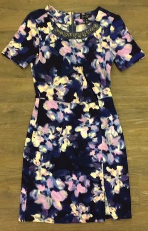 Jessica Simpson NWOT Inky Violet Watercolor Floral Jeweled Collar