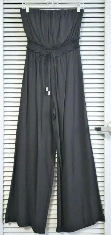 Urban Outfitters black wide leg tube jumpsuit S  earrings casual fashion style