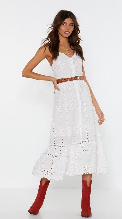 Nasty Gal White Lace Midi Dress