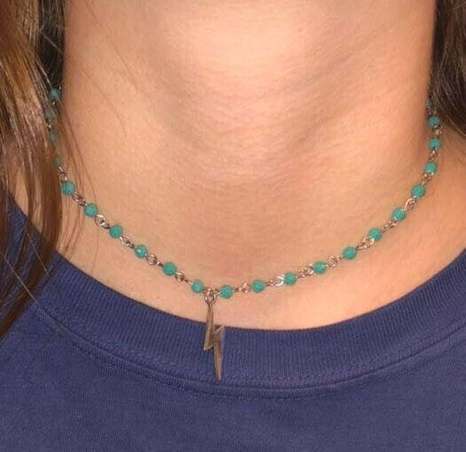 Teal Lightning Bolt Choker