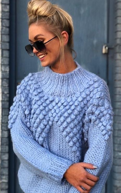 My Kim Collection Blue PomPom Sweater