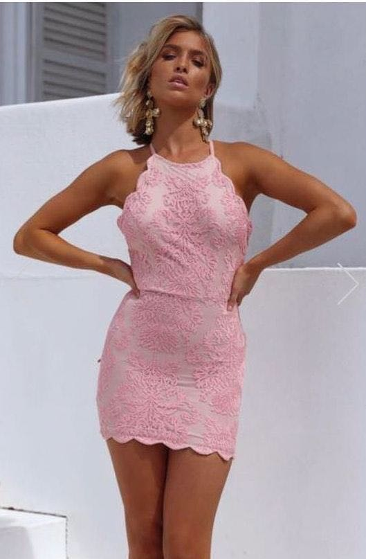 Xenia Pink And Cream Lace Recruitment Dress