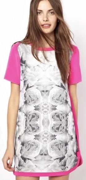 Finders Keepers Hot Pink Magenta Shift Dress With Black And White Floral Print