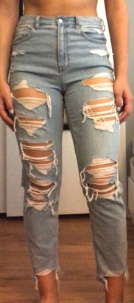 American Eagle Outfitters High Waisted Ripped Jeans