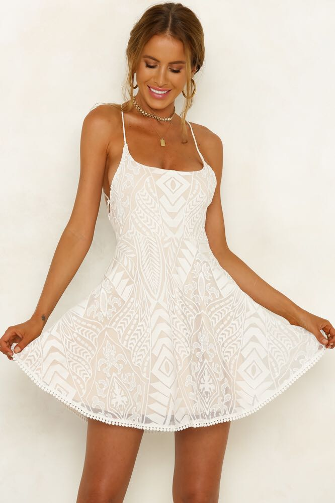 Hello Molly Anywhere But Here Lace Dress White