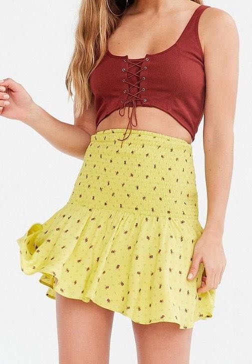 Urban Outfitters Kimchi Blue Haystack Smocked Mini Skirt