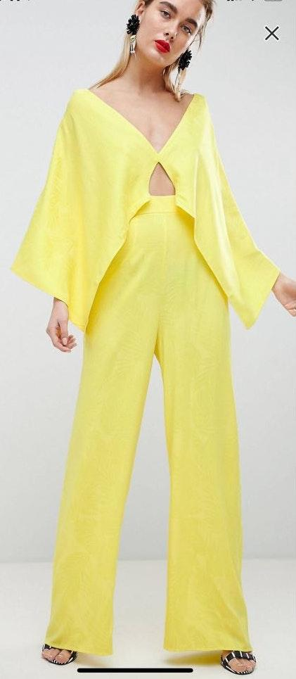 ASOS Yellow cape jumpsuit