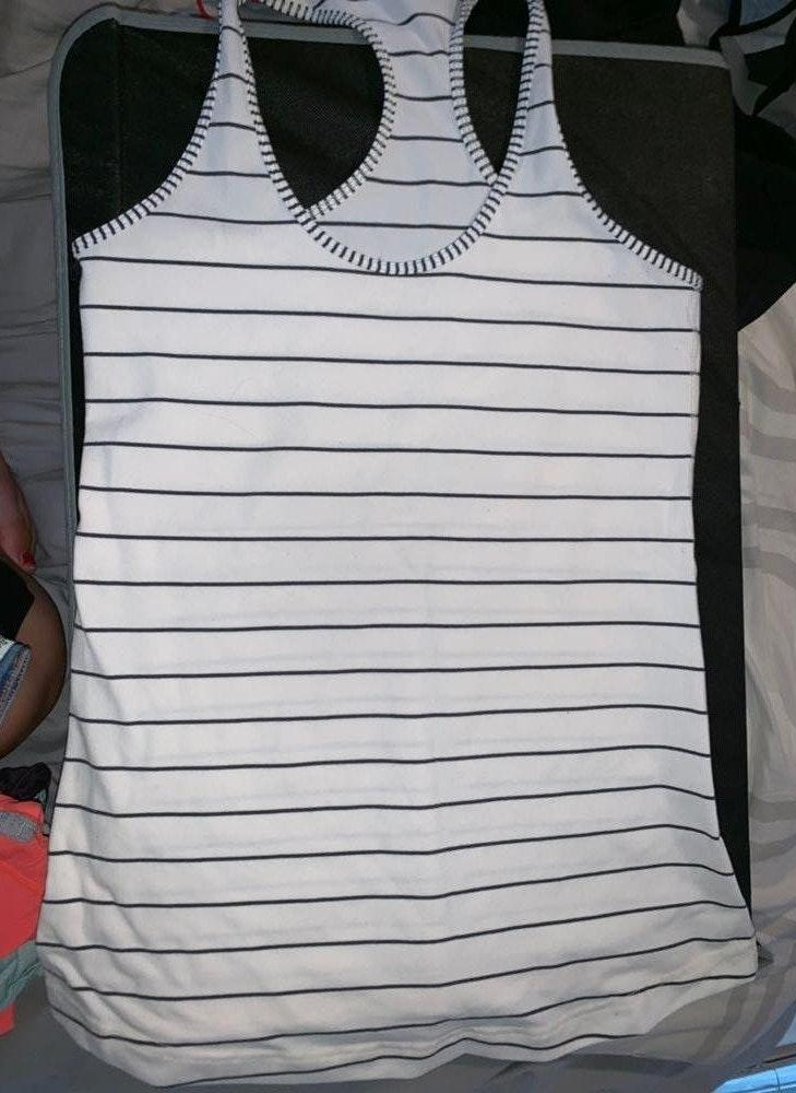 Lululemon White And Black Striped  Shirt