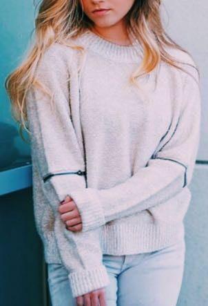 Cream Zipper Detail Sweater