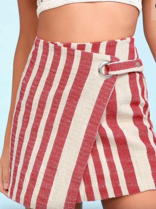 Free People Red stripped wrapped mini skirt