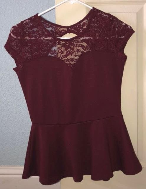 Ambiance Apparel Short Sleeve Burgundy Lace Peplum Top