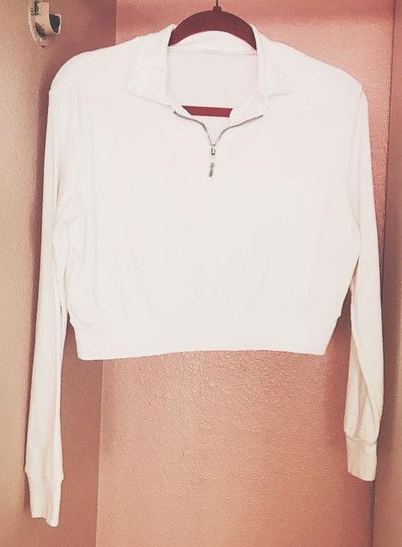 Brandy Melville White Front Zip Top