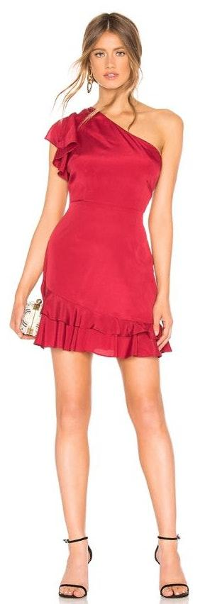About Us Red one shoulder Dress