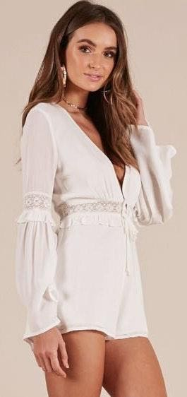 Showpo White Lace Playsuit