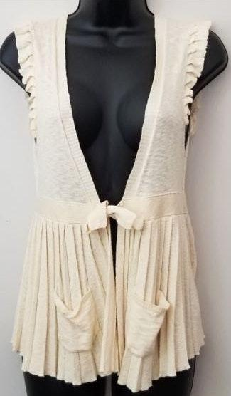 Free People Pleated Cream Sweater Vest