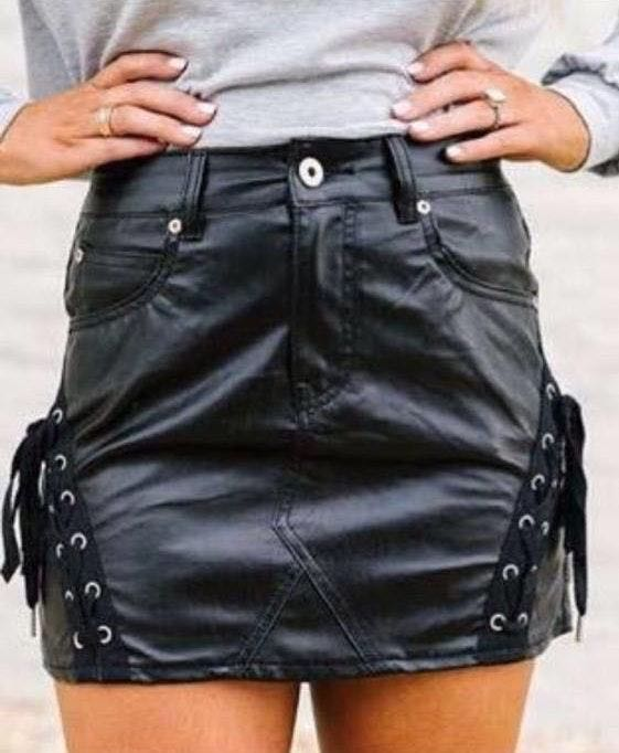These Three Boutique Leather Mini Skirt