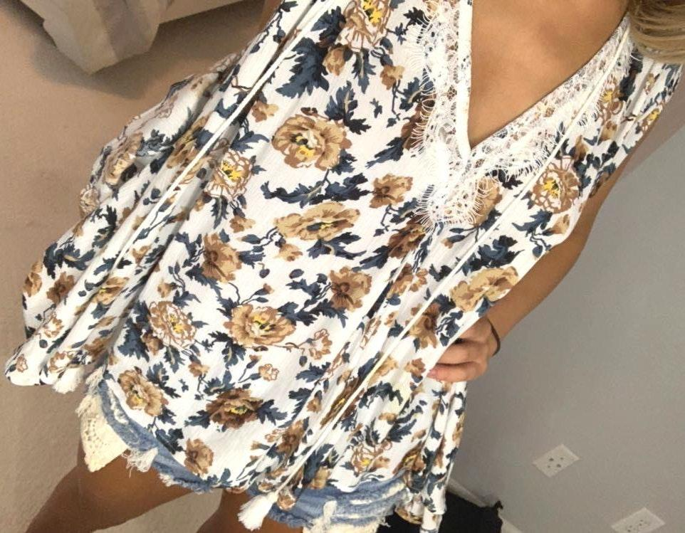 POL floral open back top