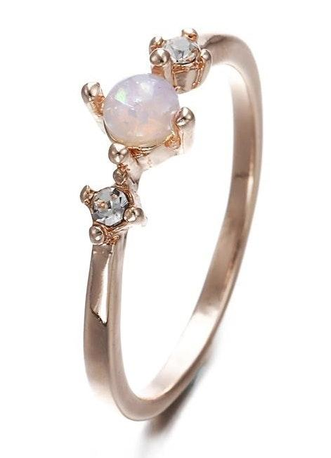 Dainty Opal Stone Ring Dipped In Rose Gold...