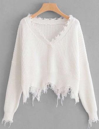 Vestique V Neck Sweater With Frayed Hem