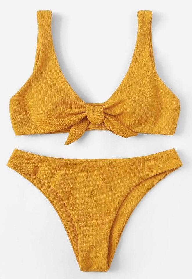 Zaful Tie Front Scoop Neck Bikini Set Size Large