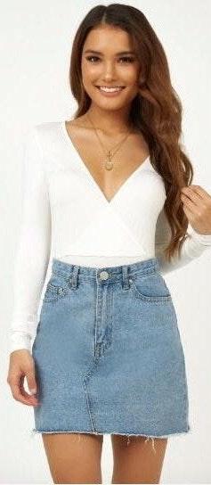 Showpo White Long Sleeve Bodysuit