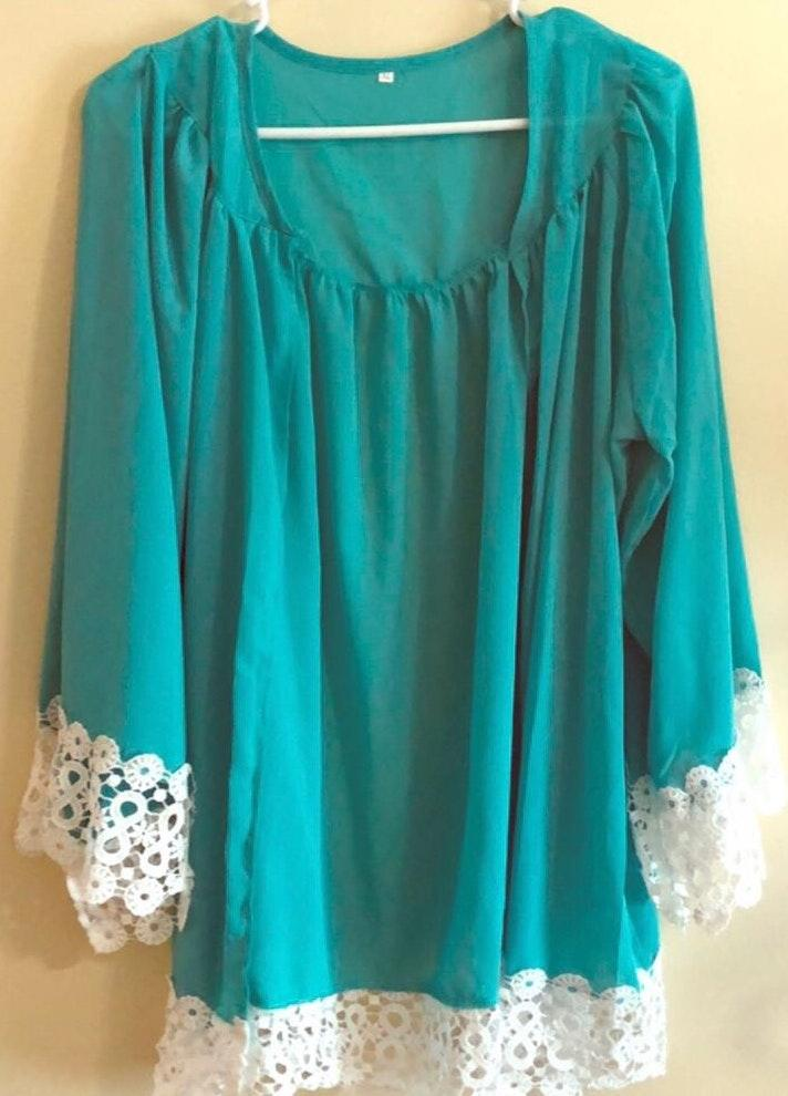 Teal And Lace Summer/fall/spring Cardigan.