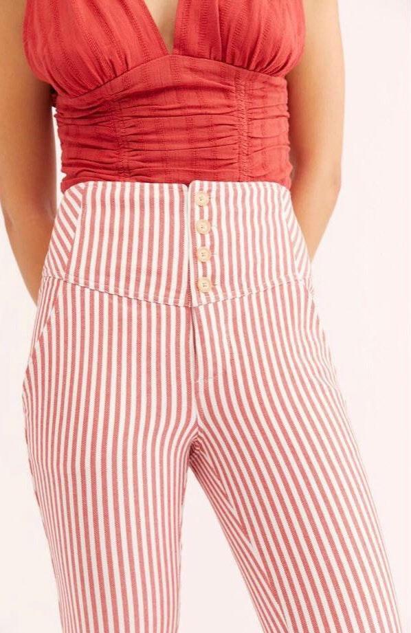 Free People Red Stripe Pants
