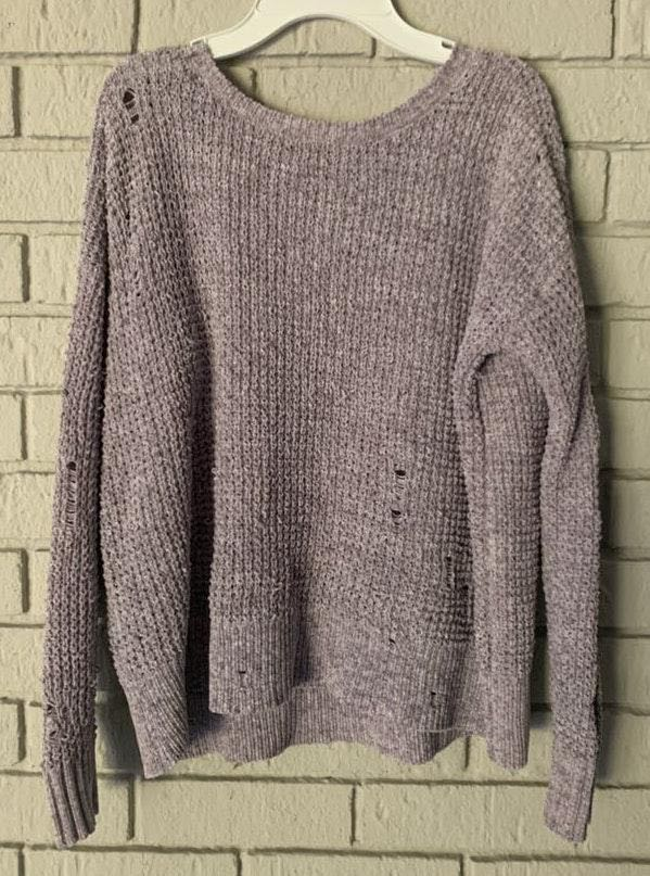 American Eagle Outfitters Purple Distressed Sweater
