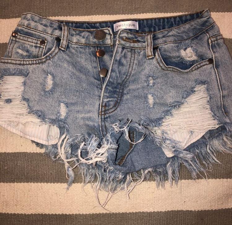 Vestique Ripped Jean Shorts