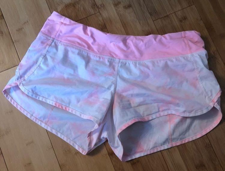 Lululemon Pink Tie Dye Speed Up Shorts Curtsy