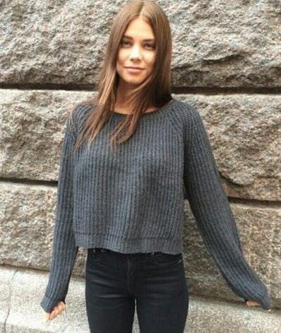 Brandy Melville Gray Crew Neck Sweater