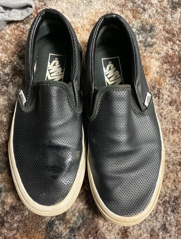 Vans black leather van slip on shoes