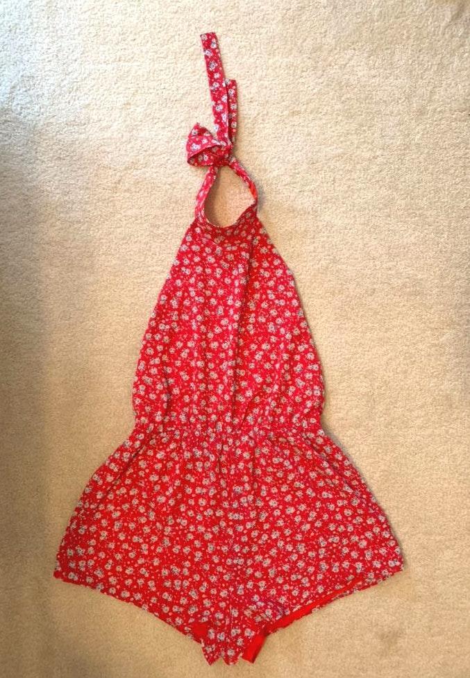 Tobi Red Floral Halter Open-Back Romper