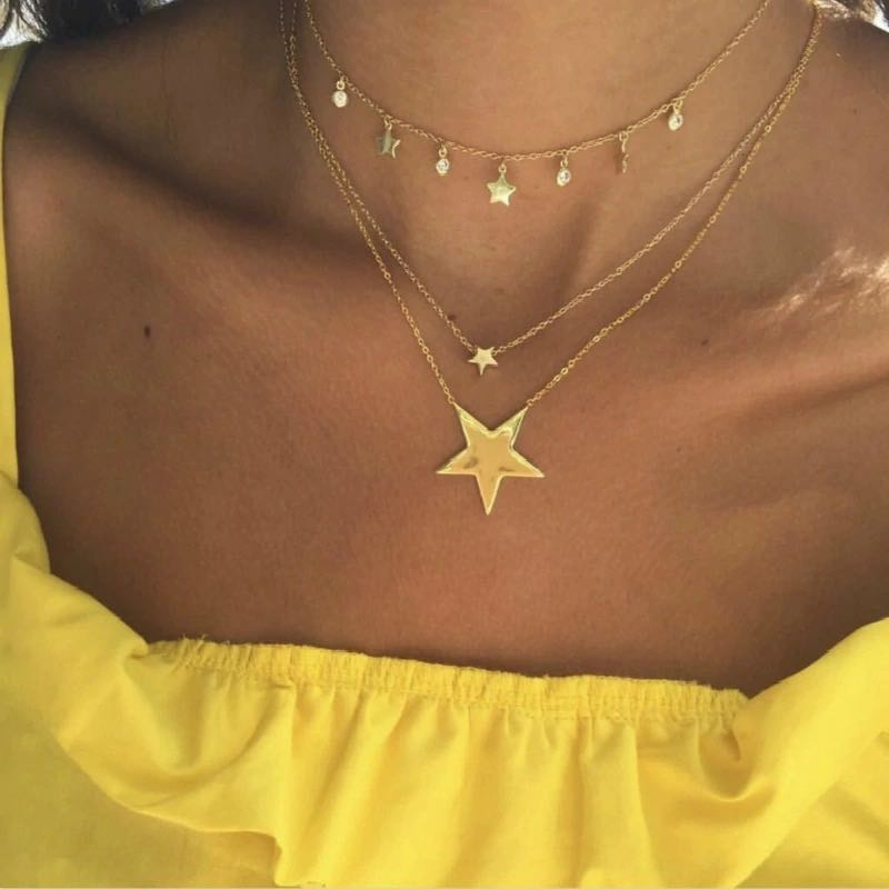 Gold Star Drop Layered Choker Necklace