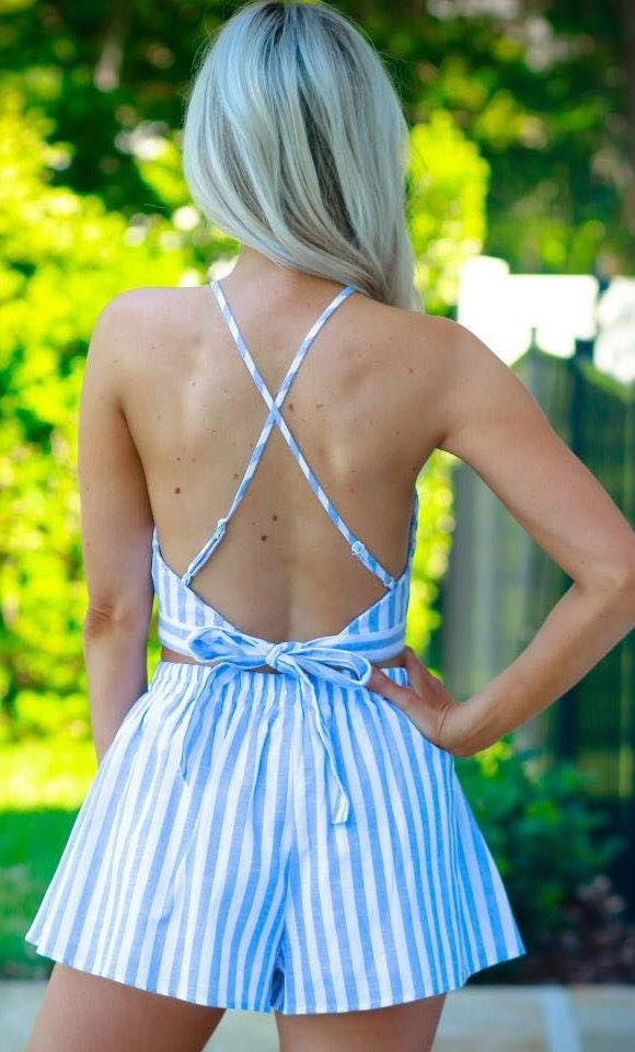 Sophie & Trey Two Piece Set - Blue and White Striped