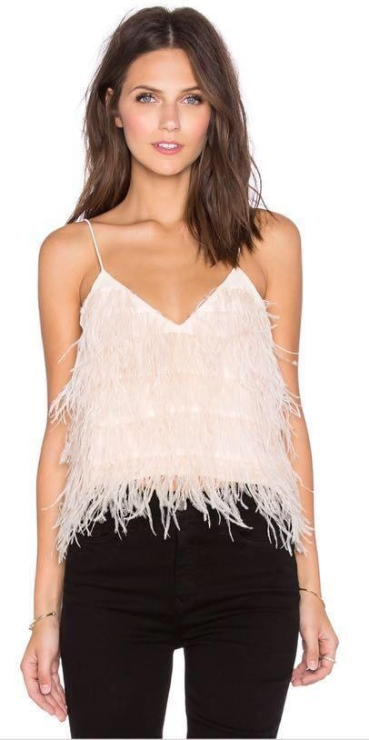 Lucy Paris Blush Feather Cropped Tank
