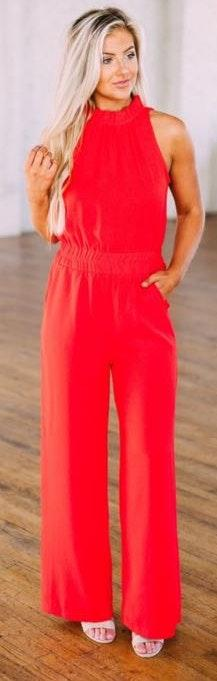 These Three Boutique Red  Mock Neck Jumpsuit