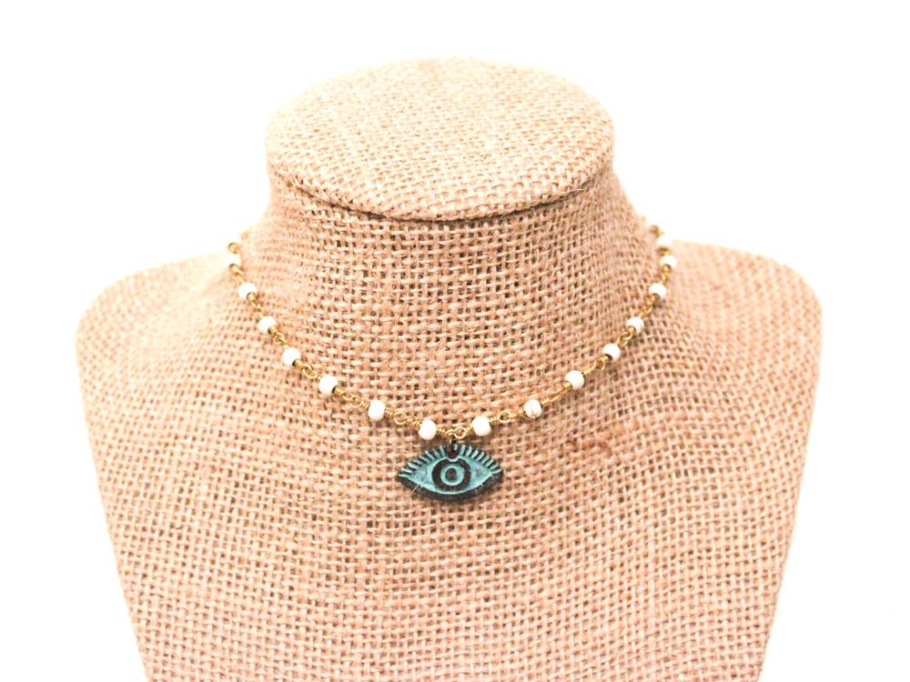 Beaded by Meg Aqua Evil Eye Necklace