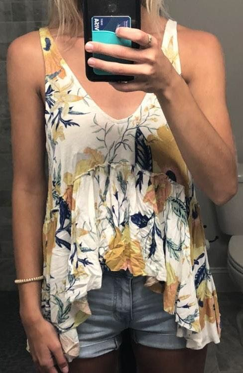 Urban Outfitters Floral High Low Tank