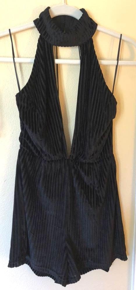 Luxxel Black Velvet Striped Romper