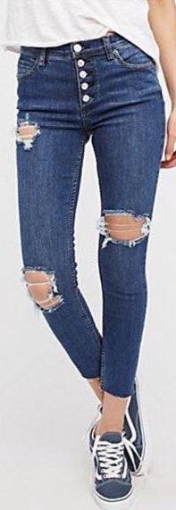 Free People Reagan Distresses Front Button Jeans
