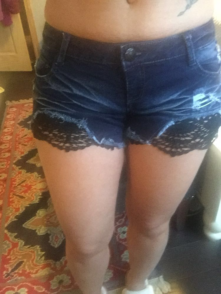 Rue 21 Dark Denim Crochet Shorts