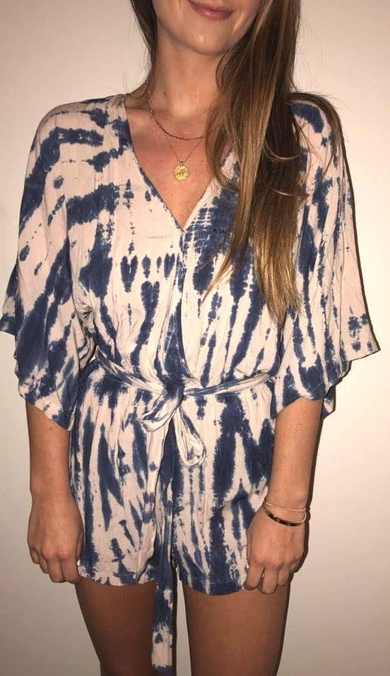 Blue Life Tie Dye Romper
