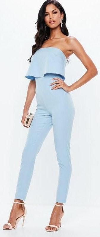 Missguided Light Blue Double Layer Jumpsuit