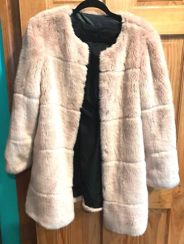ZARA Beige Fur Coat