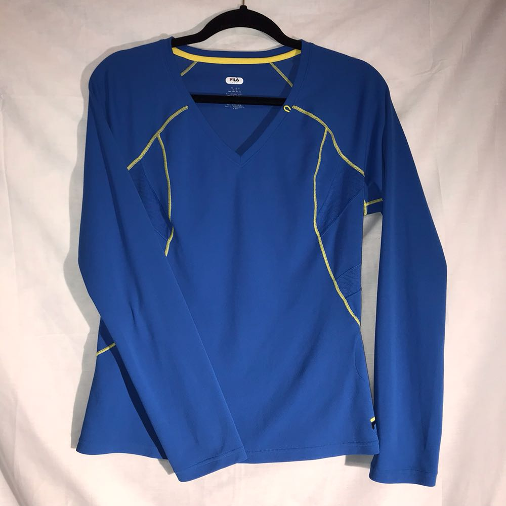 FILA Sport Blue Fitted Large Long Sleeve Active Top